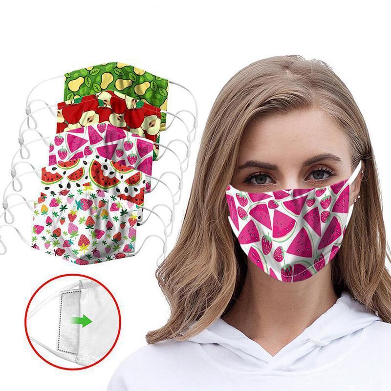 Fruit Print Face Masks Washable Safet Dustproof Haze Reusable Mask PM2.5 Filter Adjustable Protective Mask DDA172