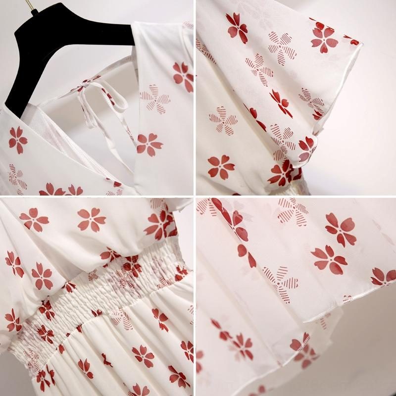 l9ksN 2019 verão elegante Lady New vestido da forma floral magro V-neck chiffon vestido de manga curta