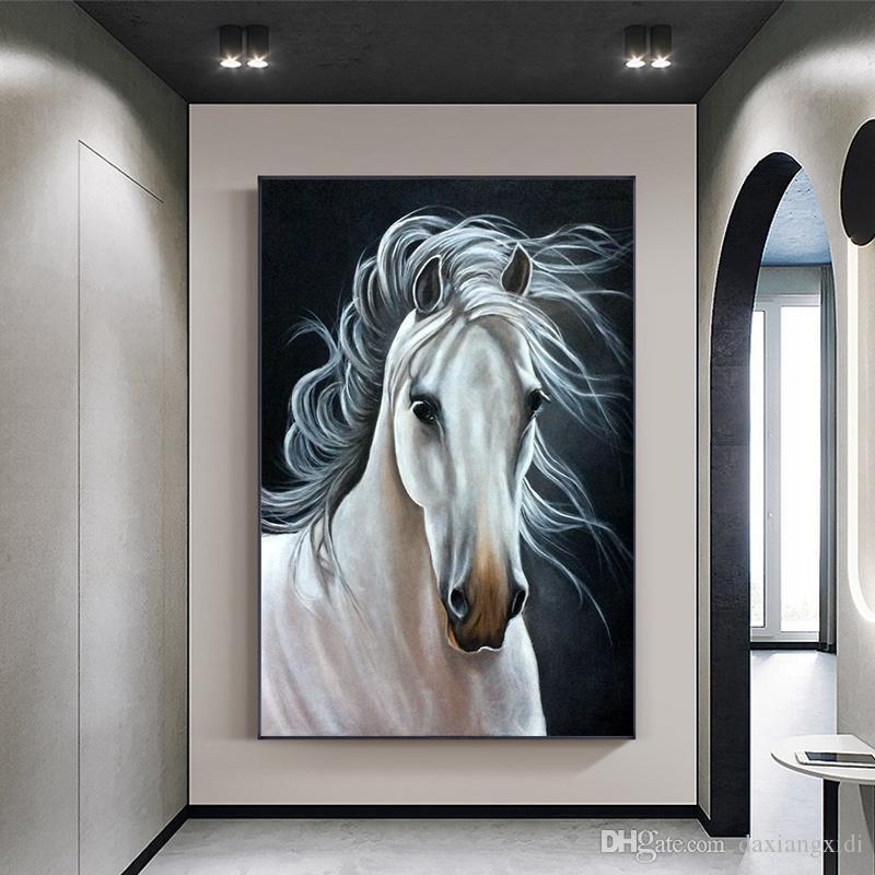 Животное искусство Nordic Стиль Белая лошадь Холст печати плакатов Современные стены искусства Картины стены искусства для гостиной Home Decor (без рамки)