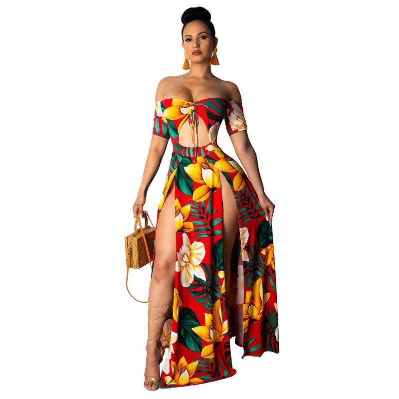 Playa de verano impreso Vestido maxi sin tirantes Descanso del hombro Sexy High Slit Sundress para mujer Robe Hollow Out Largo Vestidos