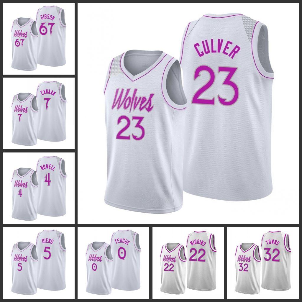 MinnesotaTimberwolves Taj Gibson İşaya Canaan Jimmy Butler Jaylen Nowell Gorgui Dieng Andrew Wiggins Erkekler 2019-20 Derneği Jersey