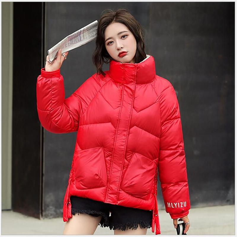 Brillante abajo cubre el algodón acolchado sección corta de las mujeres 2020 de Invierno Parkas Mujeres Pan Ropa collar del soporte de la chaqueta del invierno
