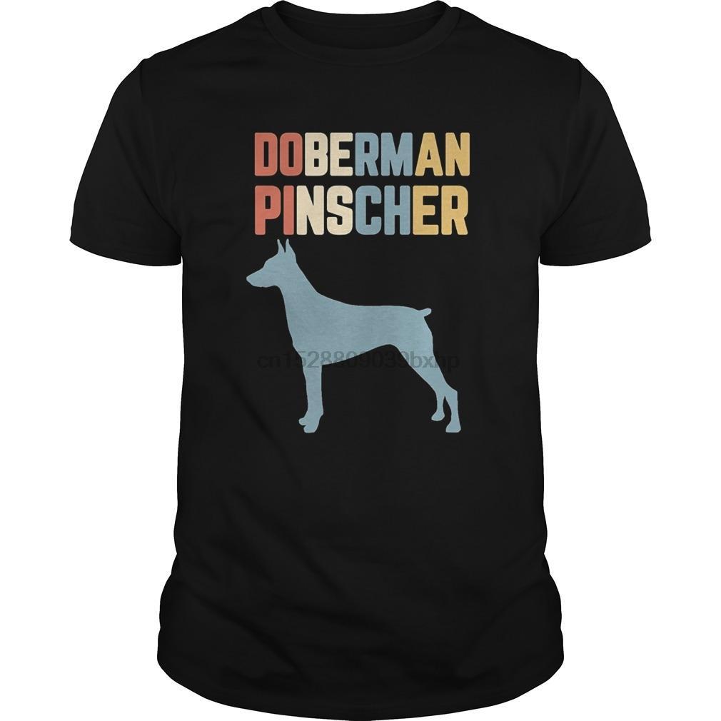 Erkekler Tişört Doberman Pinscher Gömlek Vintage Retro Siluet Sıkıntılı 2 Serin Kadınlar Tişört Kısa Kollu