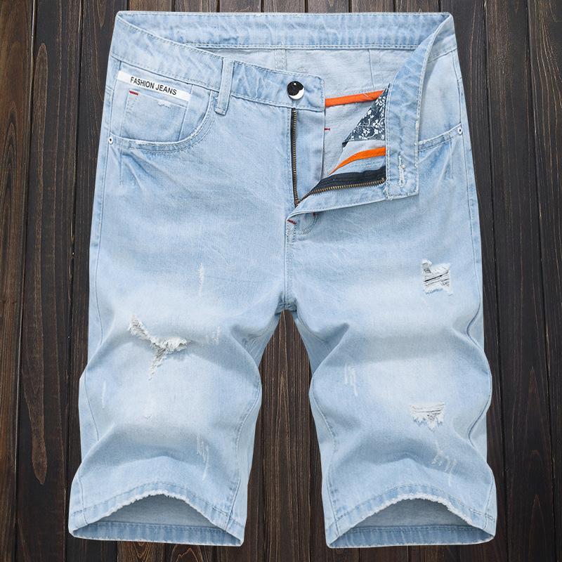 Новое лето мужские Holes Denim шорты мода мужчины денима джинсы Тонкий Прямые брюки мужские Trend Стилист Брюки TE3E
