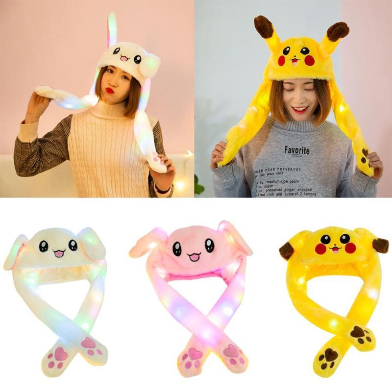 Hair Accessories Lovely Luminous/no Light Kids Plush Hat Funny Play Toy Cap Up Down Moving Ears Airbag Birthday Gift For Girls