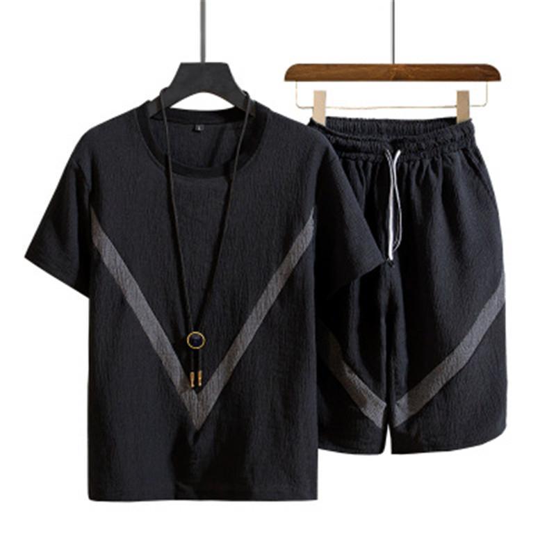 Diseñador de tapas de los hombres Short Sets O Cuello del verano del juego del algodón masculino camiseta de manga corta delgada color sólido ocasional del chándal de los hombres de Corea ropa