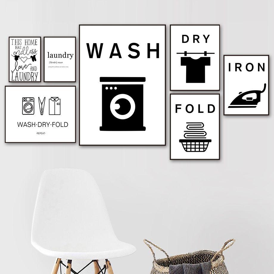 Lavage à sec Fold fer blanchisserie drôle signe citation mur d'art de toile Peinture Affiches nordique et mur Prints photos pour salle de bains Décor