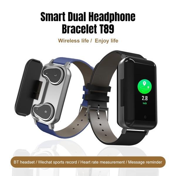 أسلوب جديد T89 TWS بكلتا الأذنين بلوتوث 5.0 سماعات لاسلكية سماعات الأذن سماعات رصد معدل ضربات القلب الرياضة المعصم للياقة البدنية الذكية أساور