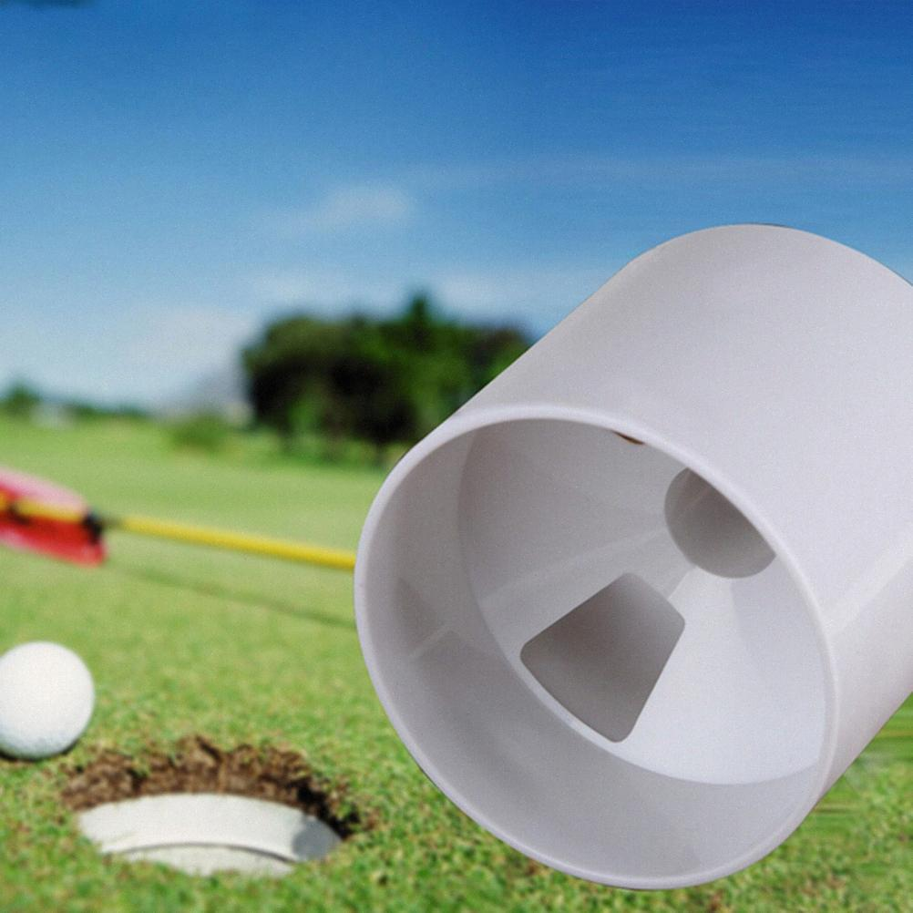 Wholesale- New Golf Training Aids White Plastic Backyard Practice Golf Hole Pole Cup Flag Stick Putting Green Flagstick TJOs#