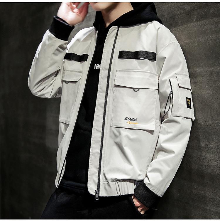 Nakış Casaul Kaykay Erkek ceketler İlkbahar Sonbahar Uzun Kollu Coats Yüksek Kol Fermuar Fly Erkekler Kabanlar