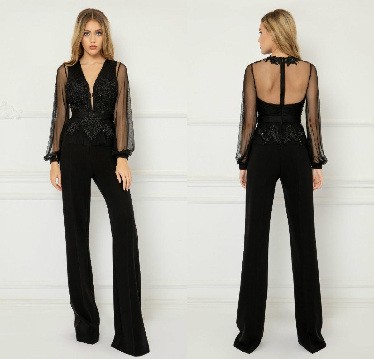 Fashion Black Jumpsuits Prom Dresses Sexy V Neck Long Sleeve Celebrity Party Gowns Lace Appliqued Beaded Costume Formal Evening Dress