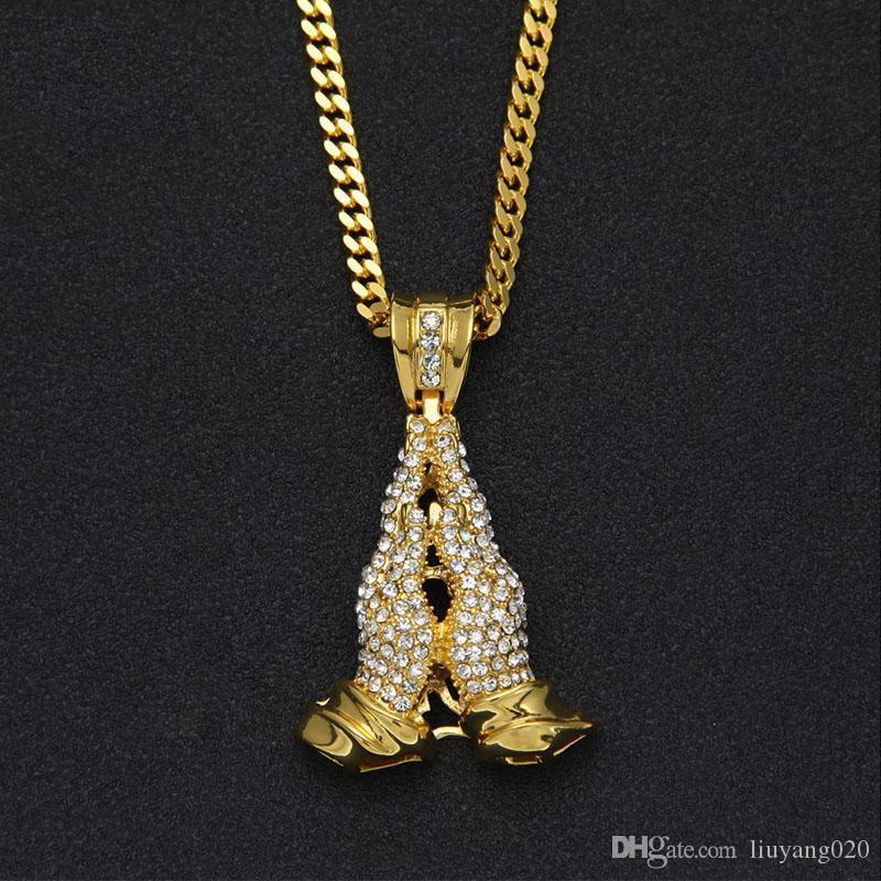 Золота нержавеющей стали молить ожерелье ручной Подвеска Christian Апостола Лаки ювелирные изделия Bling Rhinestone Мужская хип-хоп рук ожерелье