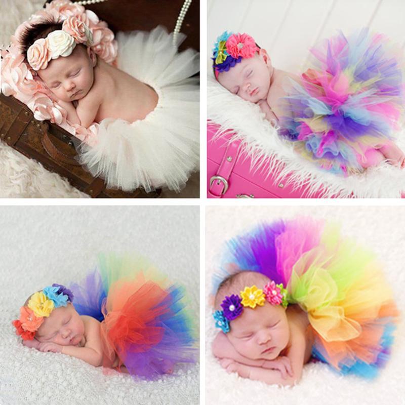 Colorful! Newborn Fotografia Puntelli Infante del costume della principessa Baby Skirt fascia Fotografia Prop Bambino Con Real Photo