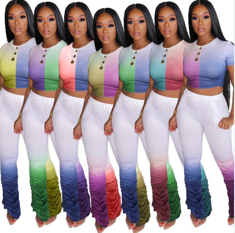 Moda Kadınlar Yığılmış Pantolon Setleri Degrade Renk O Boyun Kısa Kollu Renk 2 Parça Flare Pantolon Yeni Kadın Yaz Giyim