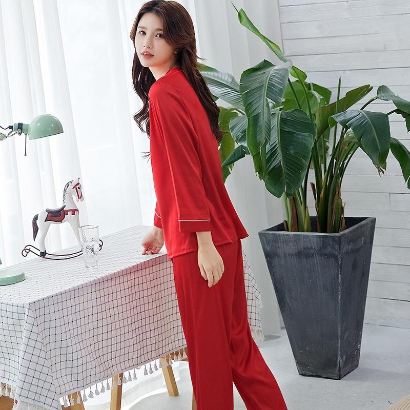 HQ6mY Women's pajamas Korean-style ice silk long-sleeved two-piece suit imitation clothes home clothesSimulation home clothing silk solid co