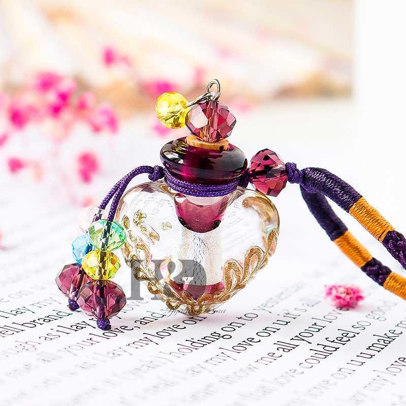 HD Hermosa Murano Cristal esencial botella de perfume del difusor del aceite del corazón collar hecho a mano mejor regalo para las mujeres niñas