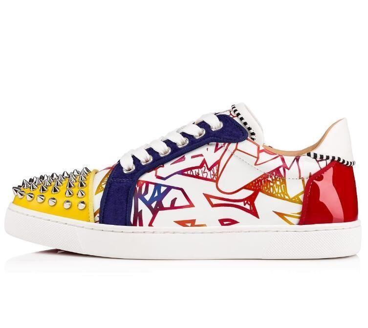 Seavaste 2 Orlato Bas Chaussures Sneaker Graffiti en cuir verni + + Spikes Low Top Loisirs Flats Party Mode mariage ShoesL24 D09