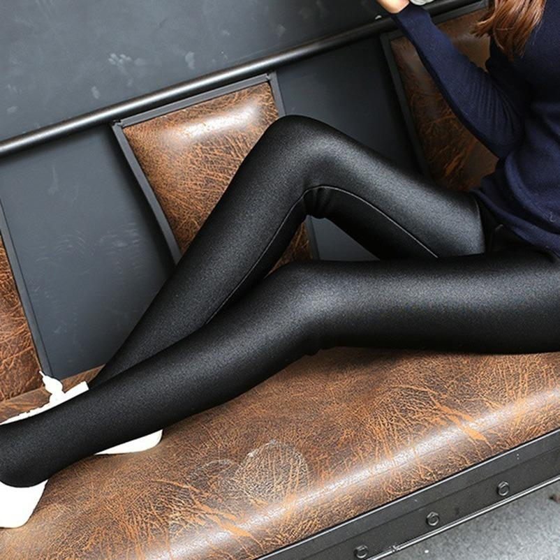 Moda feminina brilhante Leggings New Style fina Tamanho do Tornozelo Preto Leggings Stretchy cintura alta Satin Leggings Básico