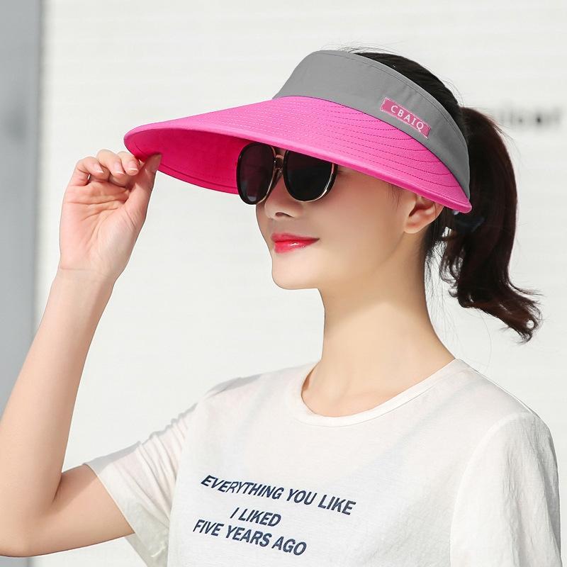 El recorrido al aire del sol del estilo de Corea a prueba de sol del verano del sombrero vacío plegable bicicleta sombrero de la bicicleta de ocio de bicicletas de sol de las mujeres