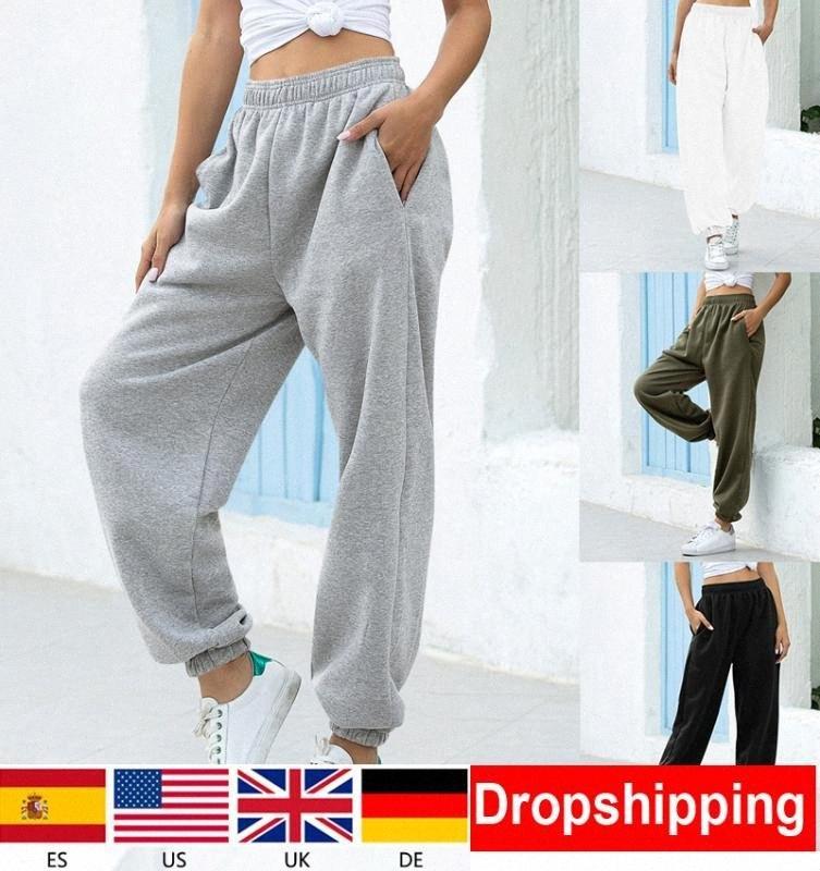 1Days Buque señoras suelta chándal pantalones de chándal de las mujeres Pantalones Soft pantalones de cintura alta de Calle coreana informal Yoga Pant Femme gpkE #