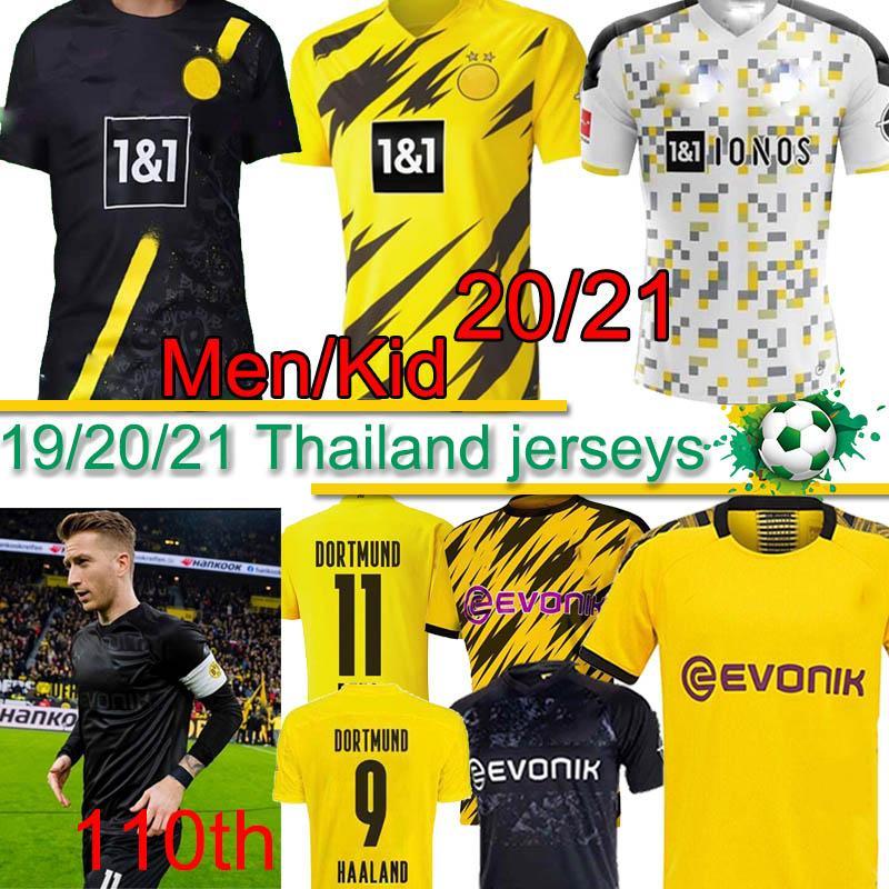 Borussia Dortmund HAALAND REYNA camiseta de fútbol número 110 19 20 21 PELIGRO GOTZE REUS PULISIC Witsel Jersey Paco Alcácer camisa de los hombres del fútbol tailandés