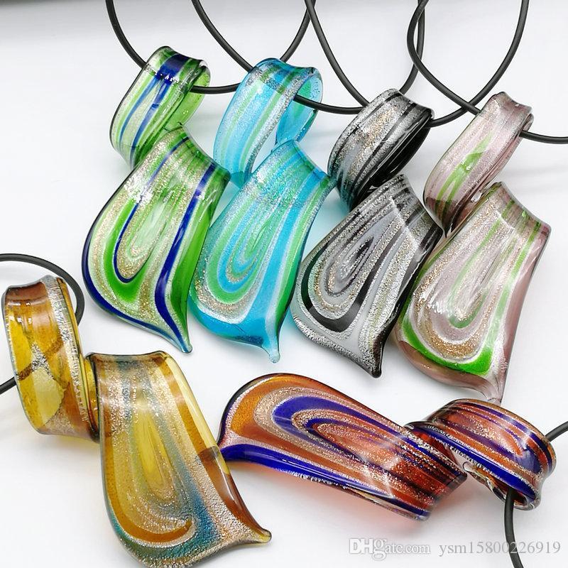شحن مجاني بالجملة الأزياء الساخن 6PCS مزج اللون الملتوية احباط الفضة زجاج Lampwork المعلقات قلادة، الأزياء قلادة