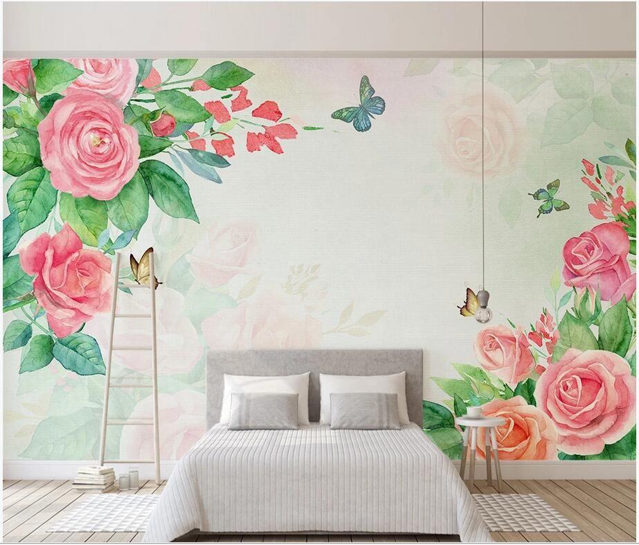 3d fondo de pantalla personalizado mural fotográfico moderno minimalista mano pintada de color rosa rosa flor de papel tapiz de fondo interior de una casa de paredes en rollos
