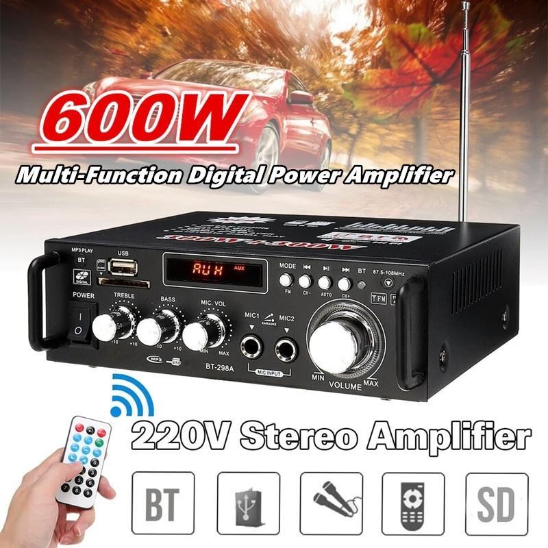 300W + 300W Главная динамик усилитель мощности Многофункциональный Bluetooth HiFi стерео усилитель мощности USB SD цифровой усилитель автомобиля игрока