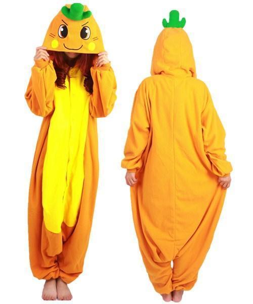 SS invierno de manga larga de color naranja amarillo animado Onesie ropa de noche de Cosplay del traje de zanahoria Pijama Party Pijama para adultos