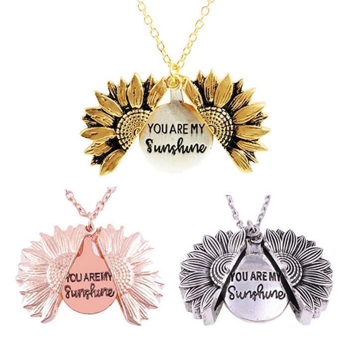 Vous êtes mon soleil de tournesol Colliers pour les femmes en or rose d'argent de conception longue chaîne Sun Flower Pendentif Femme Collier Bijoux Bijoux