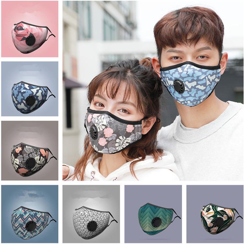 Masque unisexe Masques d'été Hommes Femmes Impression 3D avec filtre PM2.5 reniflard Valve Anti-brouillard anti-poussière Masque de protection Masques 2020 Plein air