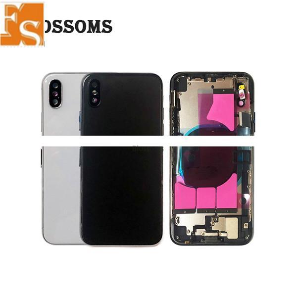 (Material original) !!! Para iPhone 8 8 Plus XR XS CUBIERTA DE CUBIERTA ATRÁS + MADURA DE CHASIS MEDIO + TARJETA FLEX FLEX + SIM Montaje de vivienda completa