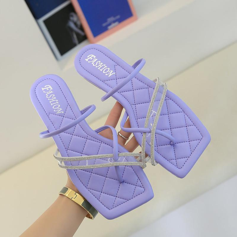 Rimocy ocasional del verano del dedo del pie plano Zapatillas Mujeres plaza de PVC de señoras cristalinos Diapositivas cómodo clip del dedo del pie chancletas de playa zapatos Mujer