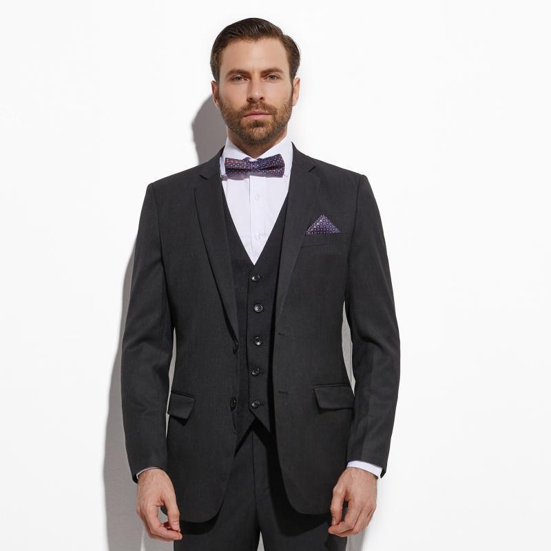 2020 Slim Fit foncé gris anthracite Costume de marié avec Jacquard Gilet Fait sur mesure 3 pièces costumes de mariage pour les hommes de mariage Groom Tuxedo