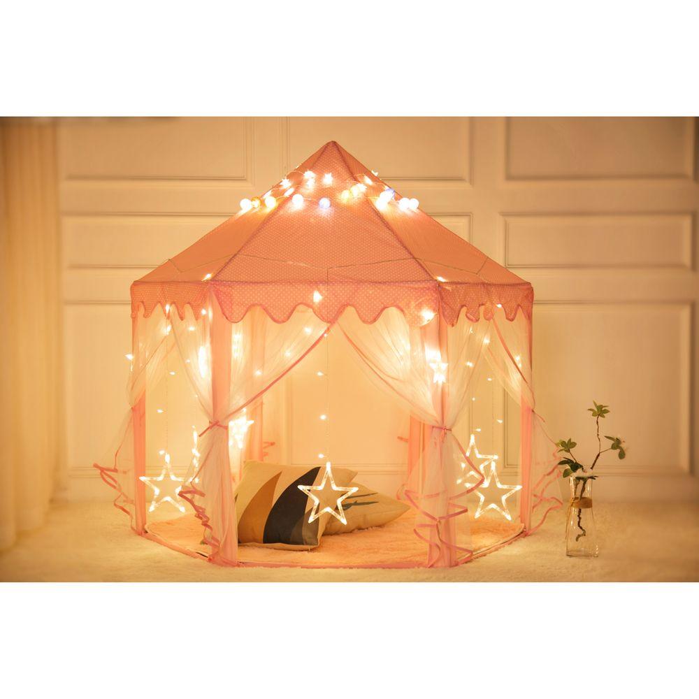 WACO Monobeach Princess Tent, Girls Large Playhouse Kids Castle Play Tent for Children Indoor and Outdoor Princess Castle Play House Pink