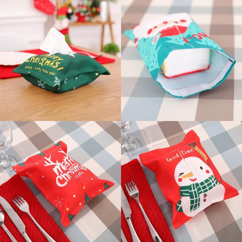 Tissu de décoration de Noël Tissue Box Sergé Tissu Boîte Couverture Joyeux Noël Santas bonhomme de neige imprimé Boîte de tissu