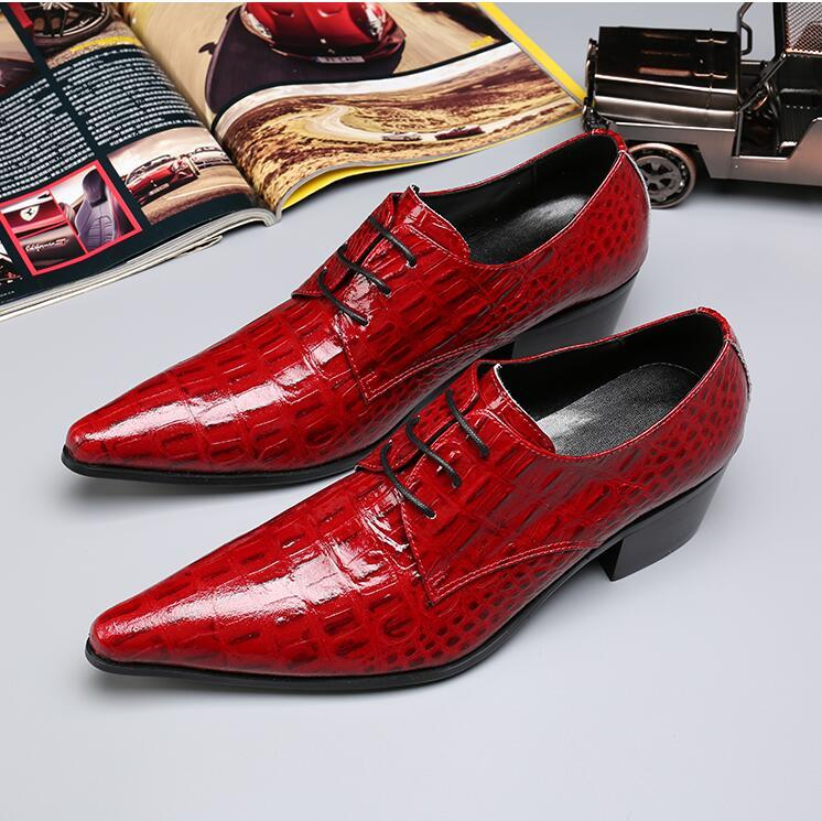 British Men Dress Shoes Red Pointed Toe Crocodile Pattern Leather Shoes Man Lace Up Stylish Wedding Shoes 38-46 DA44