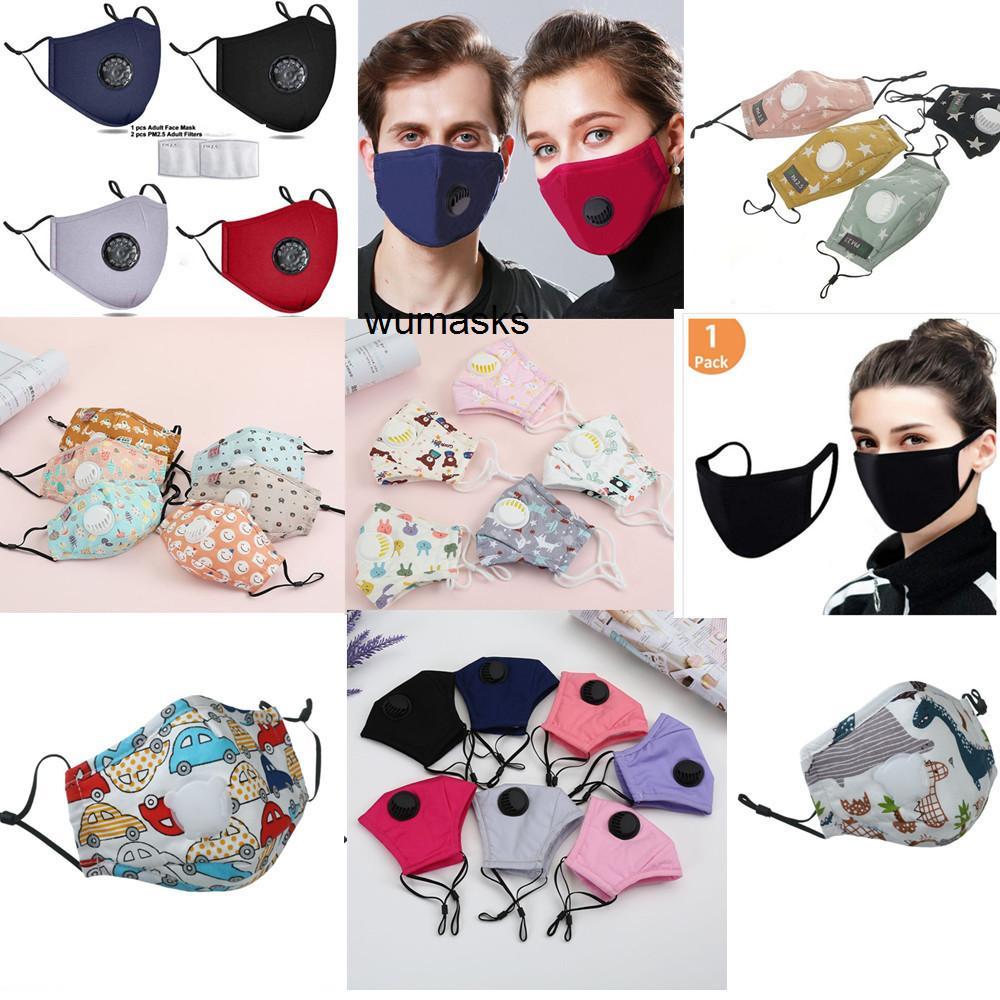 Máscara niños paño con la máscara de la cara de la válvula reutilizable Mascarillas de dibujos animados de algodón contra el polvo de carbono mascherine