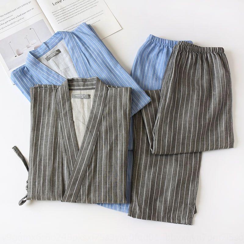 e5F19 U6LEl Primavera e pijamas de verão longo dos homens Estilo set bar mobiliário algodão gaze dupla camada pijama kimono casa casa sudoríparas s