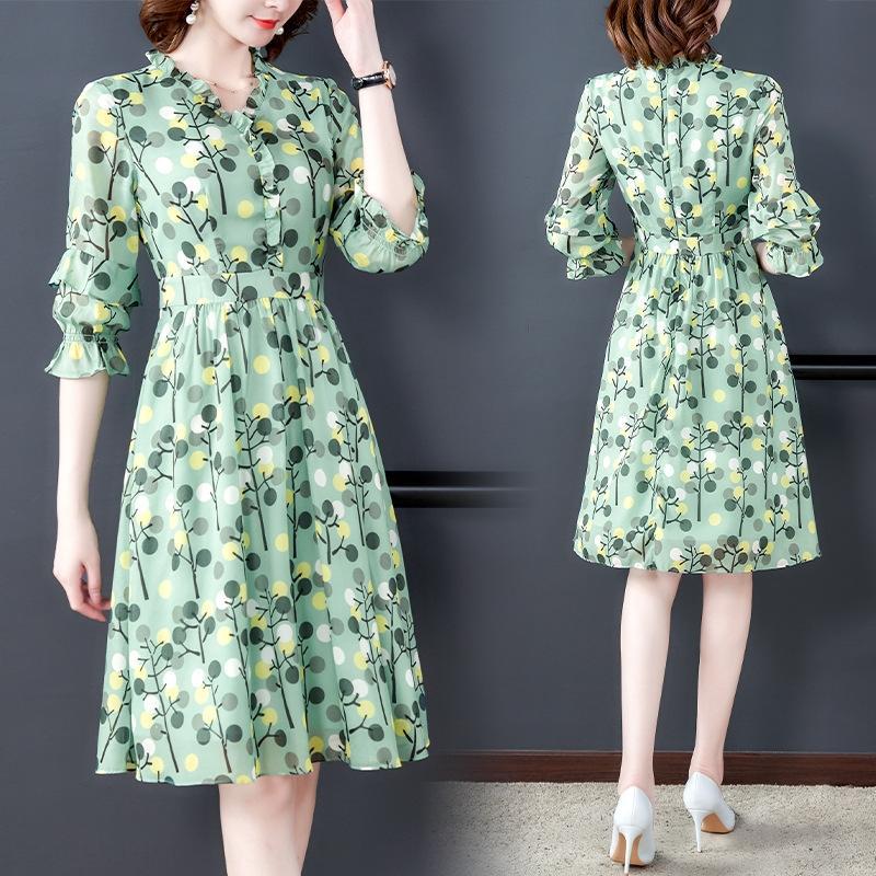I8mle Французский великолепный элегантный линия A- печатных шифон 2020 летнее платье женской талии Slimming элегантное платье новый- линия