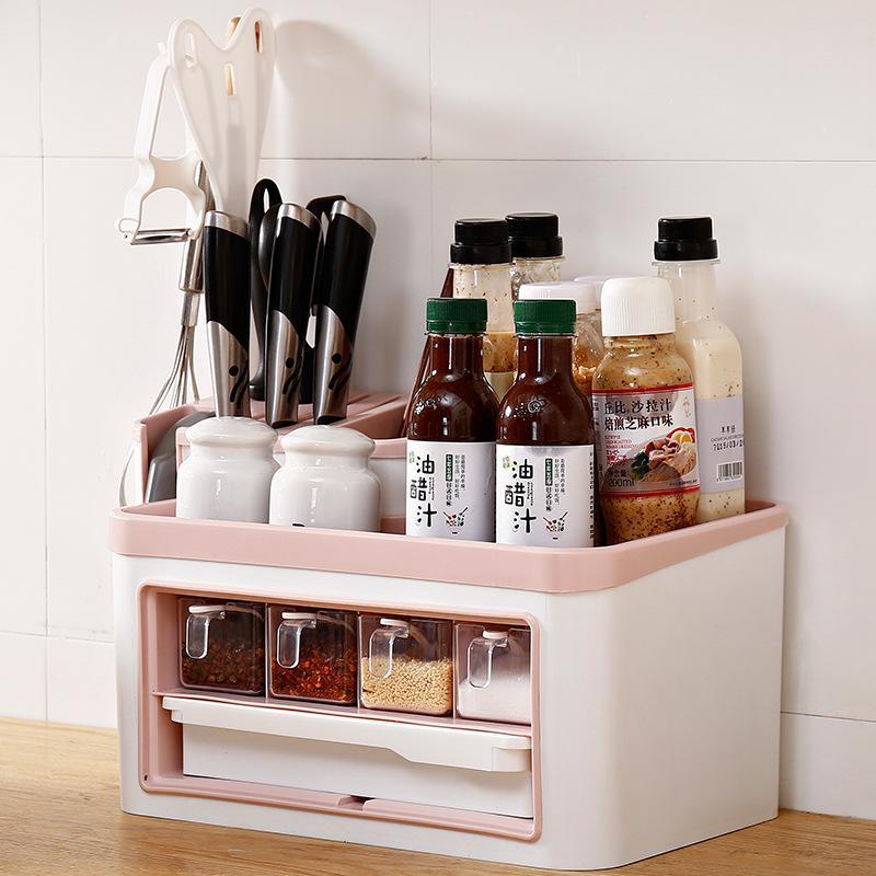 Salão de prateleira titular de cozinha titular faca tempero tempero capa pauzinho caixa vinagre1 armazenamento multi-função japonês tanque psujj