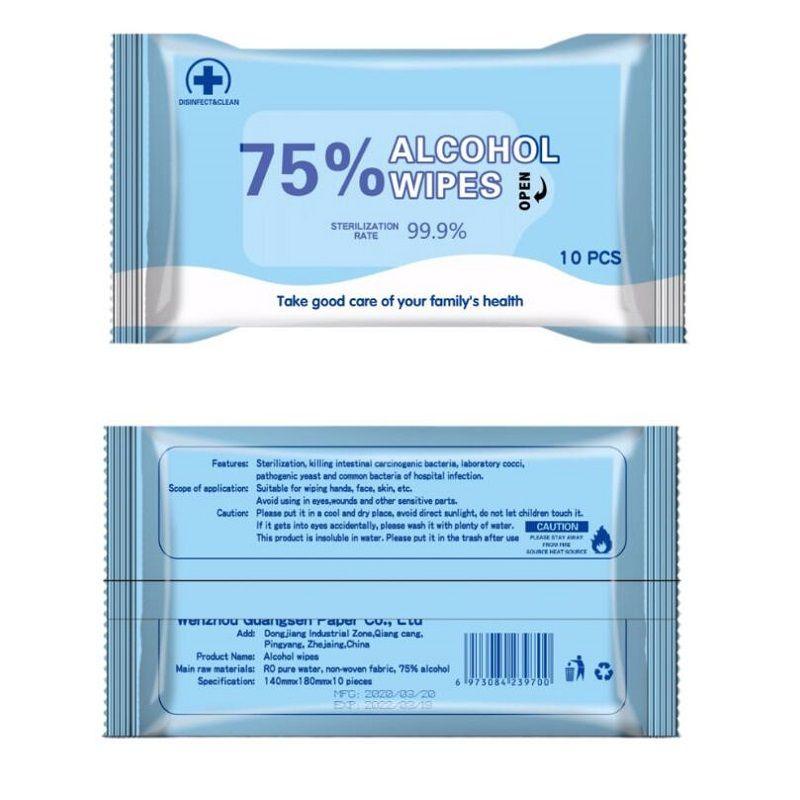 10pc / foglio di alcol Salviette disinfettanti portatile antibatterico strofinate bagnate con il 75% di etanolo alcol monouso sterilizzazione salviette umidificate