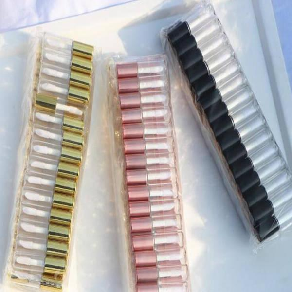 1.2ml assez vide clair Lip Gloss Tube Bouteille Baume à lèvres Conteneur outil de beauté Mini bouteilles rechargées Lipgloss Caps échantillon de tube