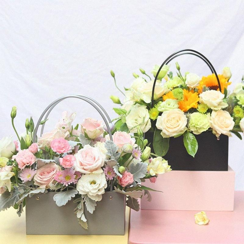 PVC Bouquet Flower Gift Boxes Round Living Vases Florist Box Flower Plant Boxes Gift Box Bags With Handles 59zi#