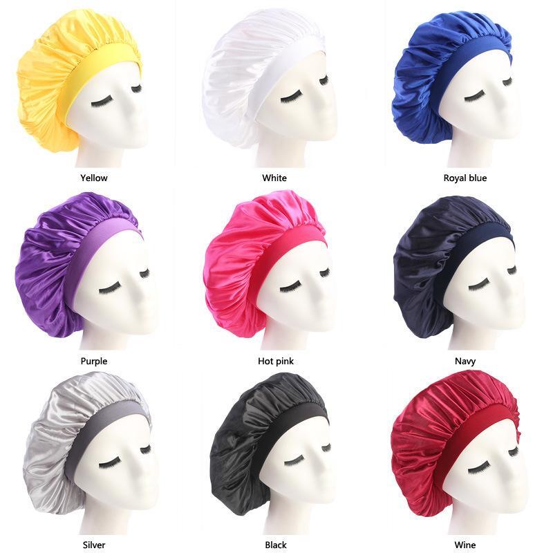 Dome Wrinkle Flexible Cap Silk Satin Hair Bonnets Hat Stretch Wide Side Circle Elastic Hair Band Headband 4 6yda C2