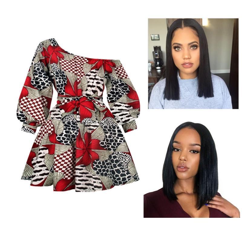 Etnik Giyim Afrika Giysileri Uzun Kollu Üst Elbise Kadınlar Için Kısa Etek Seksi Çiçek Baskı Dashiki Yaz Moda Set Peruk Kadın İnsan