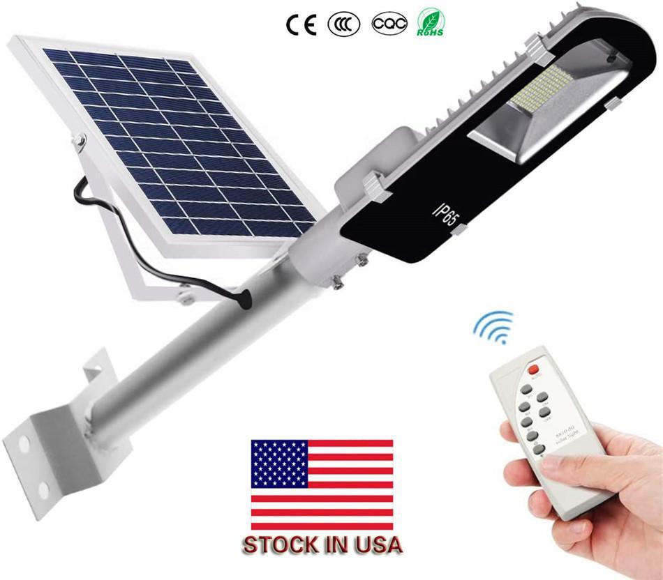 Painel solar impermeável Led Solar Poste Exterior Industrial Light Remote Control 200W 100W 60W 40W 20W Led Street Lamp