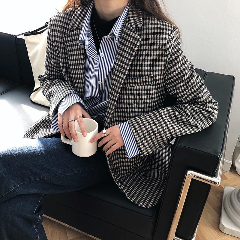 Лукси плед маленький костюм новый стиль и осенью женщин весной корейских женщин Интернет пальто знаменитости Plaid случайный костюм пальто 8013 Qzbn5