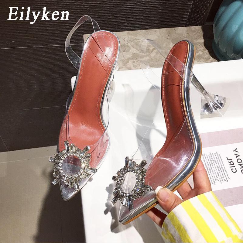 Eilyken PVC giallo trasparente di cristallo delle donne della punta della scarpe con tacchi donna perspex Spike tallone cinghia pompa i sandali CX200715