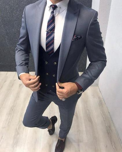 New Arrival Wedding Tuxedos for Groom Costume Homme Slim Fit Men Suits Set Navy Blue Vest Blazer Terno Masculino 3 Pieces